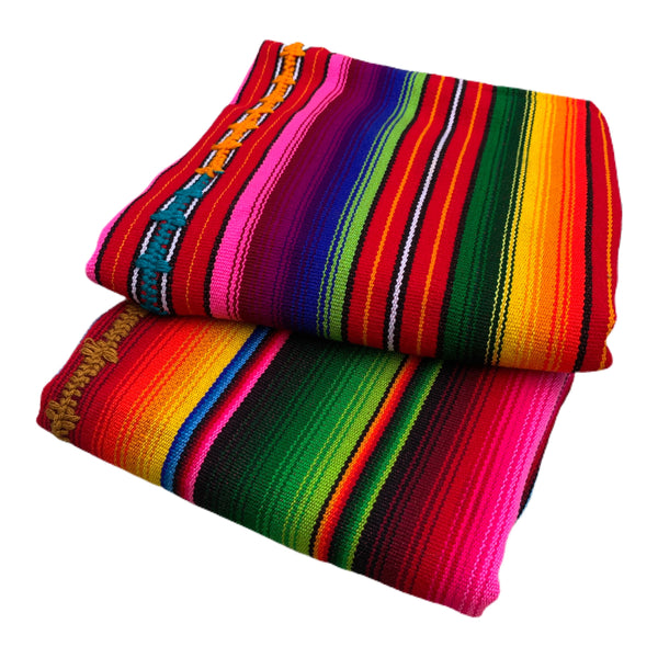 Colorful Hand Woven Guatemalan Fabric Throw/Picnic/Baby Blanket