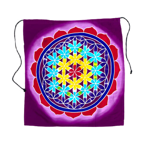 "Small Purple Flower of Life Batik Tapestry - 20"" by 20"""