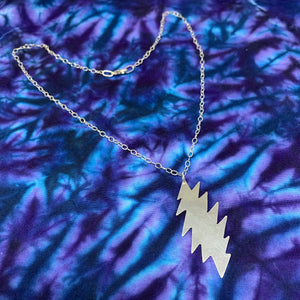 "Large Handmade Sterling Silver Necklace on 20"" Sterling Loop Chain"