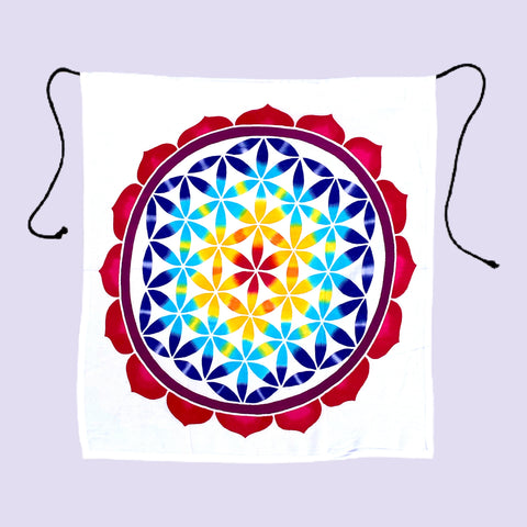 "Small Rainbow Flower of Life Batik Tapestry - 20"" by 20"""