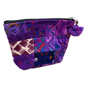 Large Patchwork Vintage Huipil Fabric Cosmetic/ Everything Bag with Plastic Lining