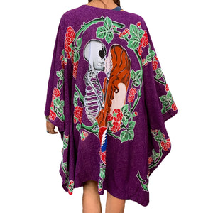 "GD Inspired ""Kiss"" Kimono with Batik Roses and Bolt in Purple"