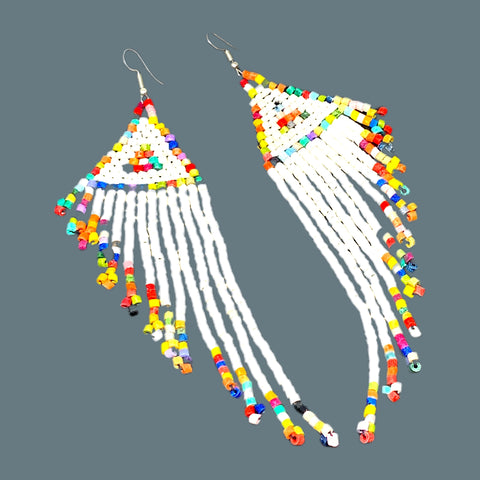 White Rainbow Wing Beaded 13 Fringe Earrings - 5 ""