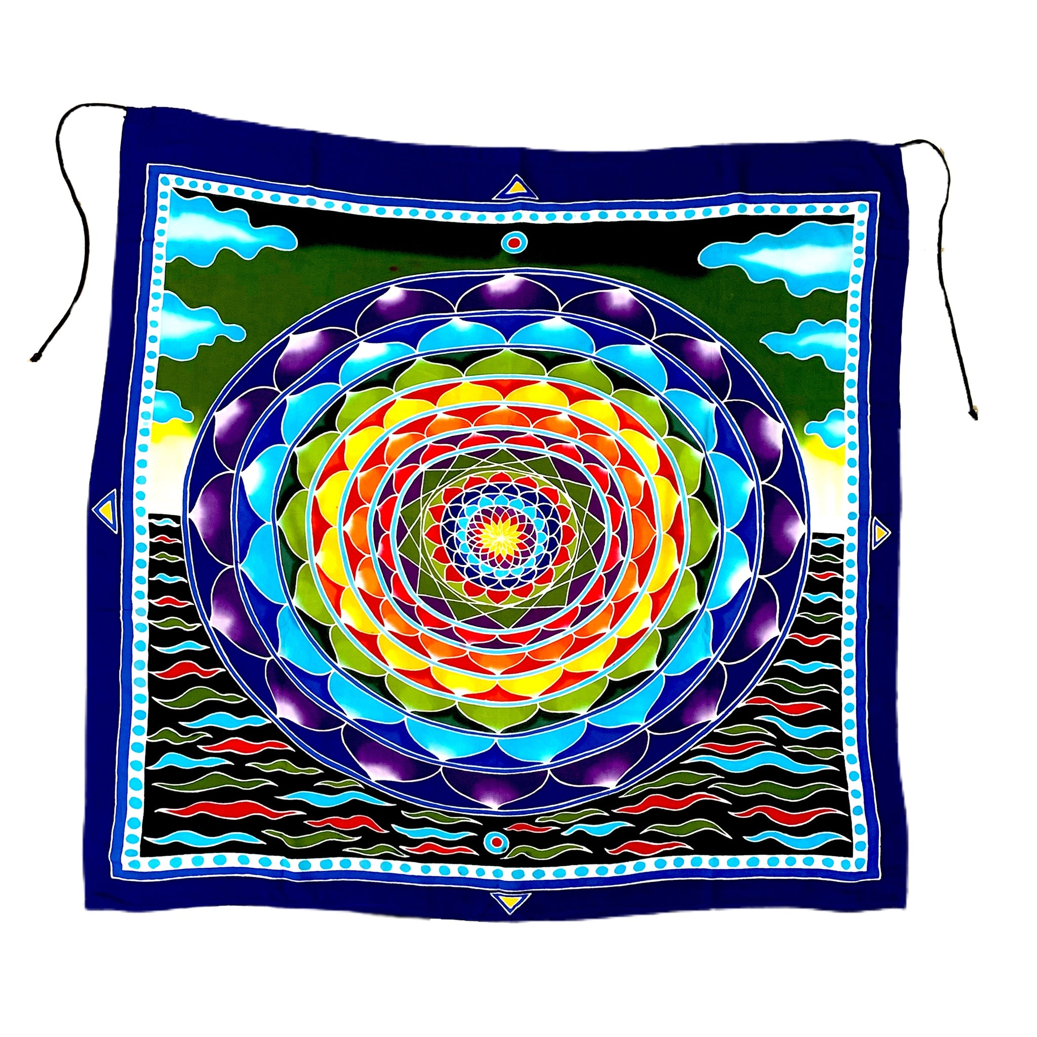 Blue & Green Flower of Life Batik Tapestry With Waves and Sky Background - 3 feet