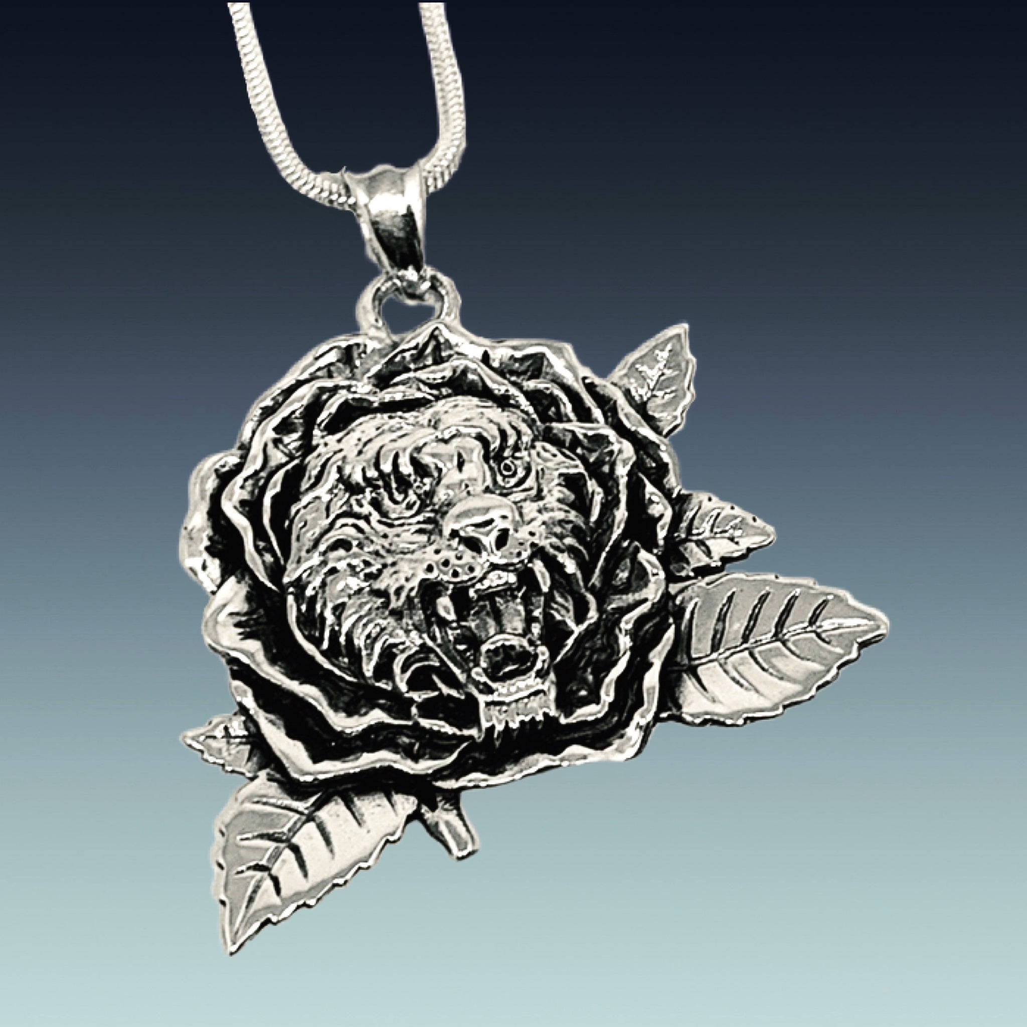 Tiger Rose Pendant on Sterling Silver Chain