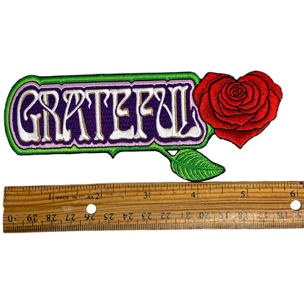 "Large Embroidered Grateful Rose Heart Patch - 6"" Long"