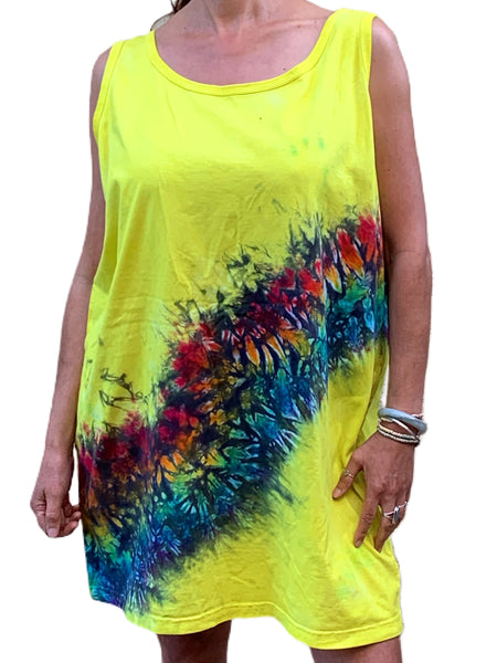 Yellow Tie Dye Over Sized Tank Dress/ Tunic - One Size