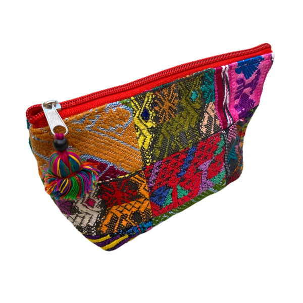 Small Patchwork Vintage Huipil Fabric Cosmetic/ Everything Bag with Plastic Lining