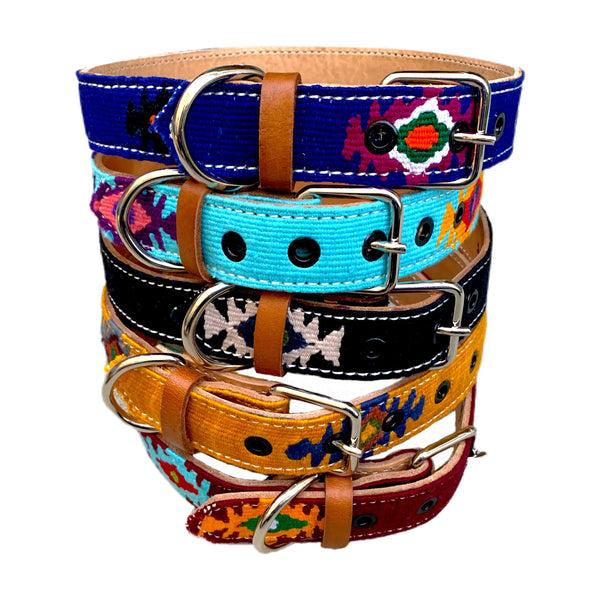 Colorful Hand-Woven Cotton & Leather Dog Collars From Guatemala - XLarge