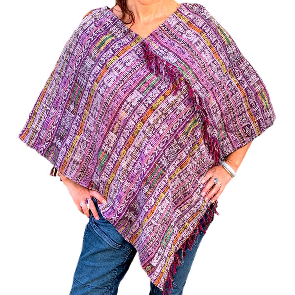 One of a Kind Handwoven Corte Fabric Ponchos From Guatemala