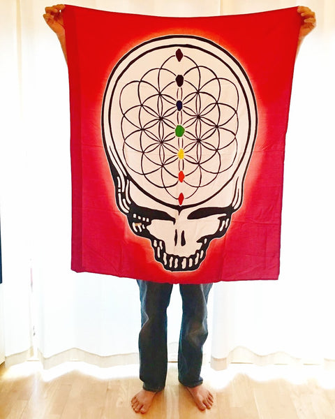 GD Inspired Batik Yellow Steal Your Face Flower of Life Tapestry - 3 x 3 1/2 Feet!