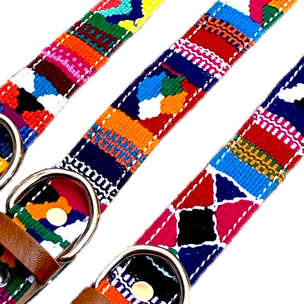 Mutli-Color Hand-Woven Cotton & Leather Dog Collars From Guatemala - Small & Medium