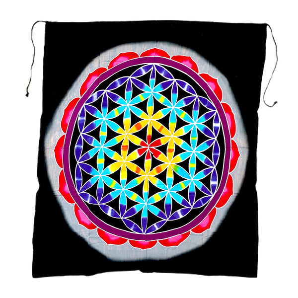 Black Flower of Life Batik Tapestry - 3 feet