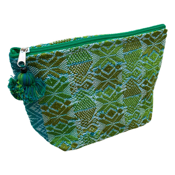 Large Huipil Fabric & Plastic Lined Everything/ Cosmetic Bag