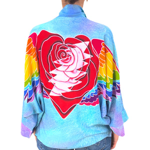 Kimono Jacket with Batik Winged Heart & Bolt in Sky Blue