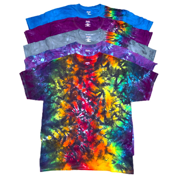 New Size LARGE Collection #2 Tie Dye - Black Rainbow, Purple, Grey, Blue, Purple Combo