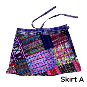 Purple Vintage Huipil and Corte Fabric Patchwork Wrap Mini Skirt