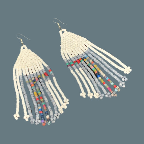 White with Grey & Multi-color Beaded 11 Fringe Earrings - 4 1/2 ""