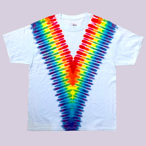 Rainbow Tie Dye on White Hanes Beefy Tee - Lrg