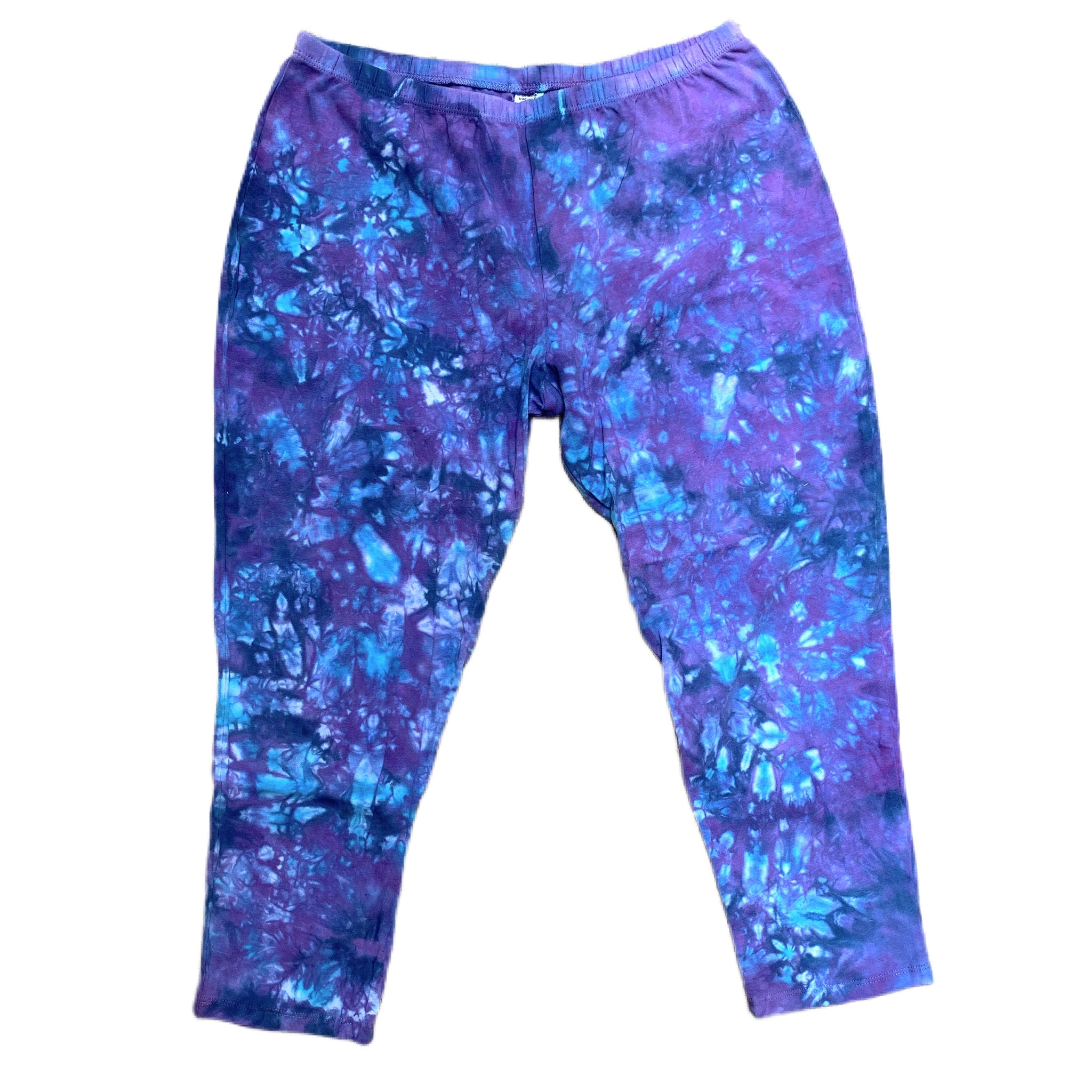 Purple & Blue Tie Dye Capri Pants - Med & Lrg