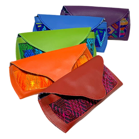 Colorful Eyeglass Cases Made with Guatemalan Huipil Fabric & Leather