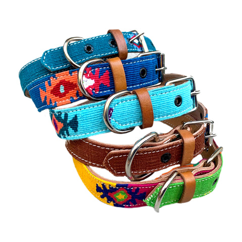 Colorful Hand-Woven Cotton & Leather Dog Collars From Guatemala - Large