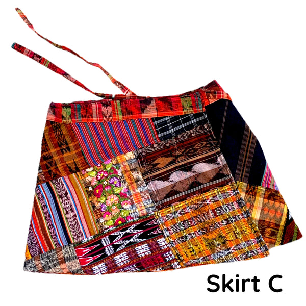 Rust Vintage Huipil and Corte Fabric Patchwork Wrap Mini Skirt