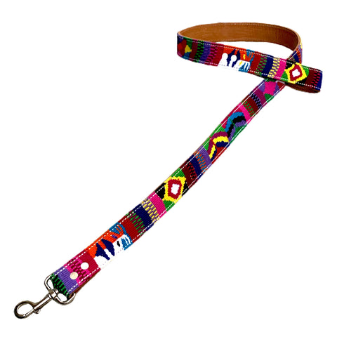 Mutli-Color Hand-Woven Cotton & Leather Dog Leash From Guatemala
