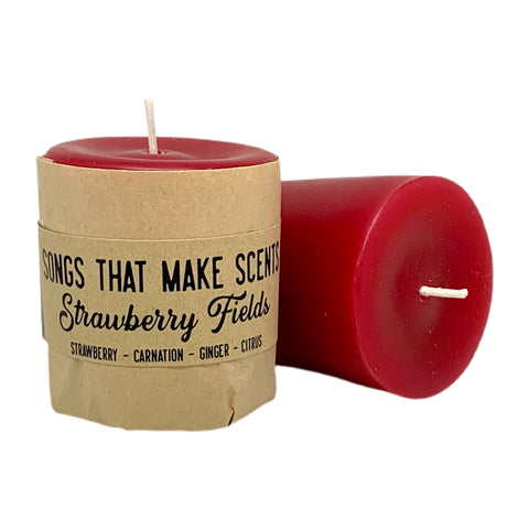 Strawberry Fields Scented Votive Candles by Songs That Make Scents