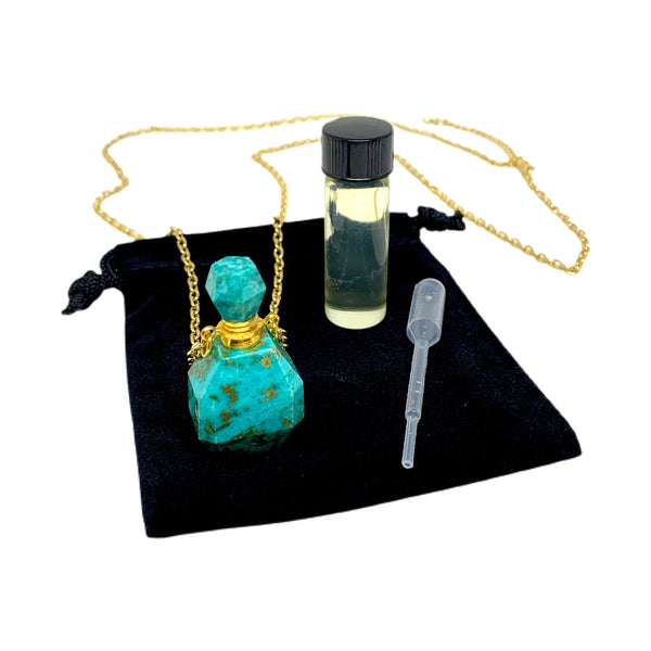Faceted Turquoise Essential Oil Bottle Necklace