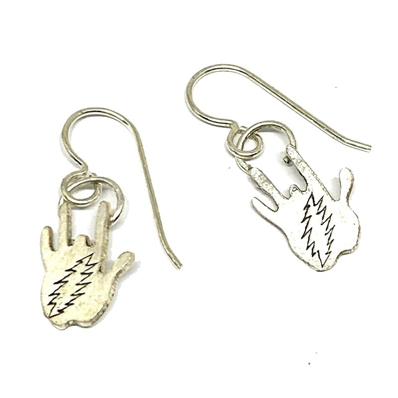 Handmade Sterling Silver Jerry Hand with Bolt Stamp Earrings