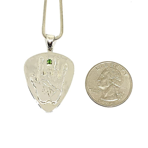 Sterling Silver Jerry Hand Guitar Pick Pendant with Emerald on Sterling Silver Chain