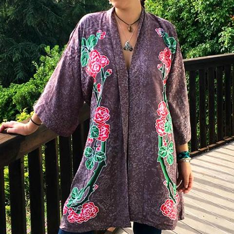 GD Inspired Kimono with Batik Roses and Bolt in Lavender, Black & Burgundy