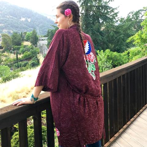 GD Inspired Kimono with Batik Roses and Bolt in Wine