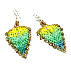 Gold, Yellow, Green & Blue Ceramic Beaded Leaf Earrings