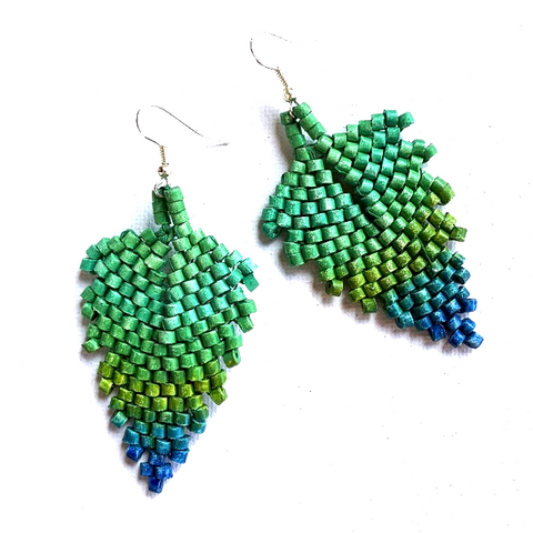 Shades of Greens and Blue Ceramic Beaded Leaf Earrings