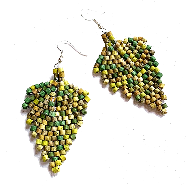 Green Multi Color Ceramic Beaded Leaf Earrings