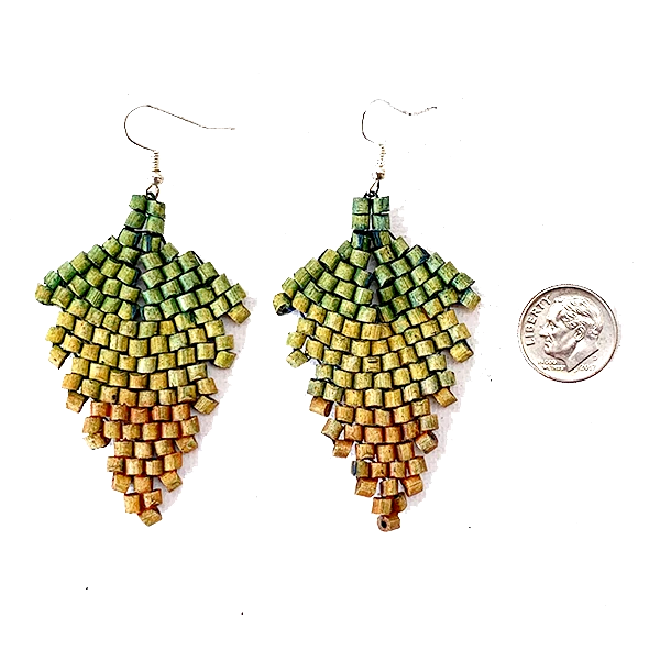 Green, Khaki to Rust Ombre Ceramic Beaded Leaf Earrings
