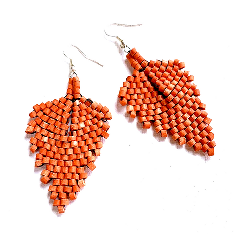Dark Orange Ceramic Beaded Leaf Earrings