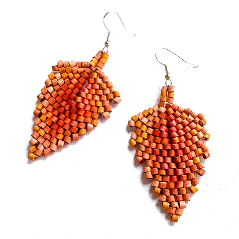 Shades of Orange Ceramic Beaded Leaf Earrings