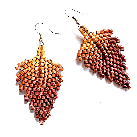 Ombre Orange to Rust Ceramic Beaded Leaf Earrings