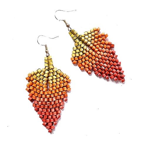 Gold, Orange to Rust Ombre Ceramic Beaded Leaf Earrings