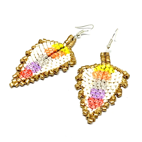 Gold, Cream & Multi Color Blocks of Ceramic Beaded Leaf Earrings