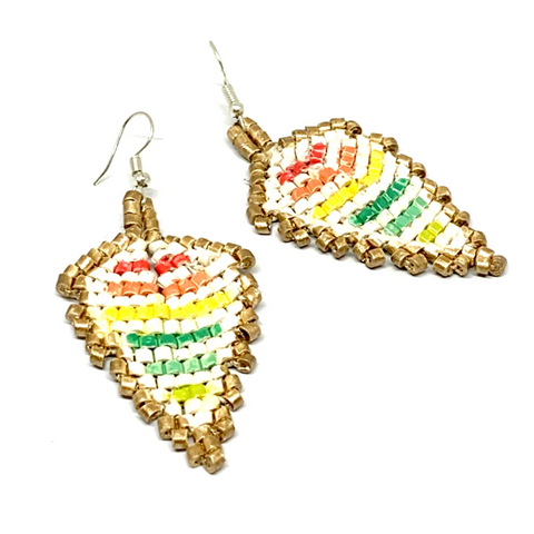 Gold, Cream & Rainbow Stripes Ceramic Beaded Leaf Earrings