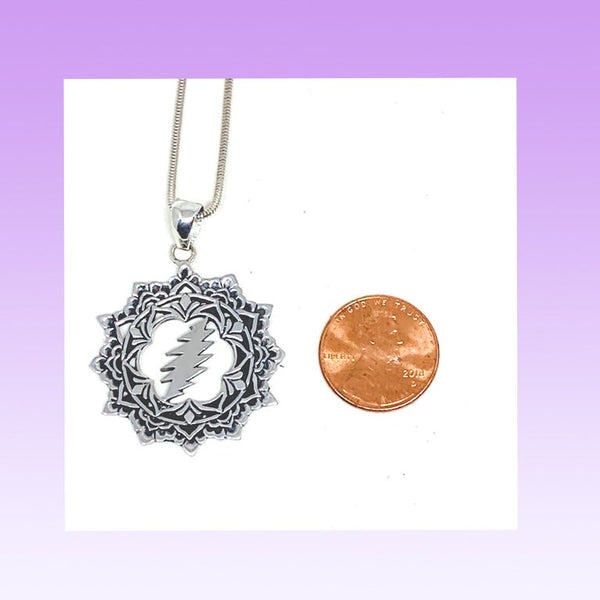 The Lotus & Bolt Pendant on Sterling Silver Chain
