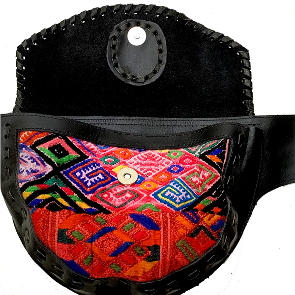 Large Black Leather Single Hip Pouch with Vintage Red Patterned Huipil Textile & Jade Stone