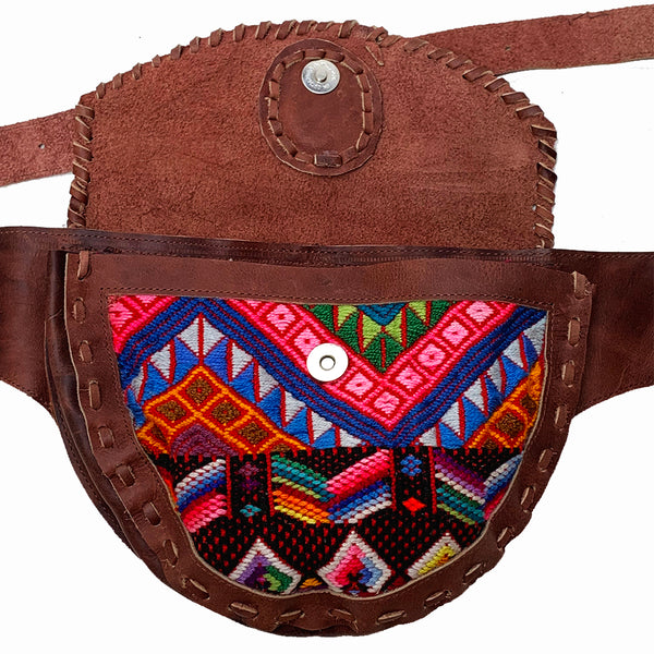 Large Brown Leather Single Hip Pouch with Vintage Colorful Geometric Huipil Textile & Jade Stone