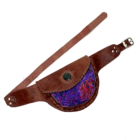 Large Brown Leather Single Hip Pouch with Vintage Purple Huipil Textile & Jade Stone