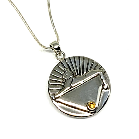 Large Cats Medallion Pendant Cast In Sterling Silver with Faceted Citrine on Sterling Silver Chain