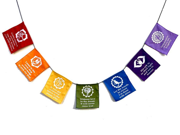 Rainbow GD Lyric Chakra Prayer Flags